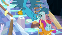 Gallus, Ocellus, and Smolder climb the steps S9E3