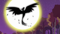 Phoenix rising in front of the moon S2E21