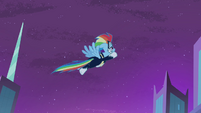 Rainbow Dash flying into the sky S4E06