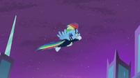 Rainbow Dash flying into the sky S4E06