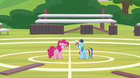 Rainbow and Pinkie on the buckball field S9E15