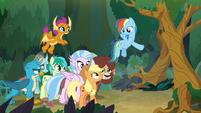 Rainbow gestures for AJ to go on ahead S8E9