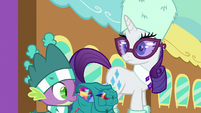 Spike and Rarity hear Gabby's voice S9E19