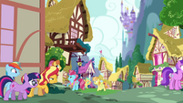 Sunset, Sci-Twi, and RD sneak into Ponyville EGSB