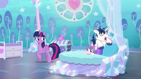 Twilight looking at sleeping Shining Armor S6E1