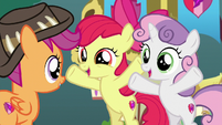 "Apple Bloom and Sweetie ""you get to stay here!"" S9E12"