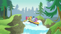 Apple Bloom and other ponies going through a river of waterfalls S6E4