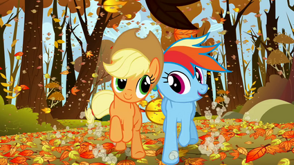Applejack and Rainbow Dash happily racing fair S1E13
