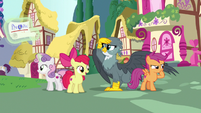 Crusaders and Gabby look for ponies to help S6E19