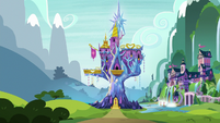 Exterior view of Twilight's castle and school S8E24