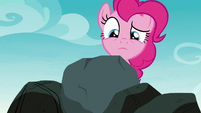 Pinkie Pie looking at the ordinary rock S8E3