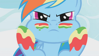Rainbow Dash applying rainbow facepaint S1E7