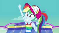 Rainbow pumps her arm in excitement again EGSB