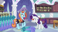 Rarity tosses Princess Dresses onto the floor S5E14