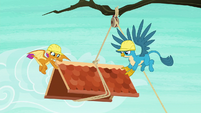 Smolder and Gallus move roof to the left S8E9