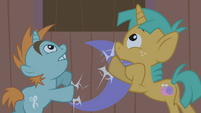 Snips and Snails pounding on Trixie's trailer door S1E06