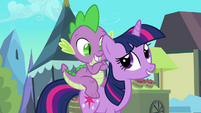 Spike is happy he gets to go with Twilight S3E2