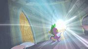 Spike observing the comic book glowing S4E06