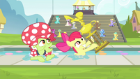 Apple Bloom and Granny Smith awarded a trophy S4E20