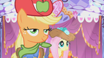Applejack and Fluttershy in their eccentric dresses S01E14