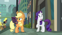 Applejack unsure while Rarity notices something S5E16