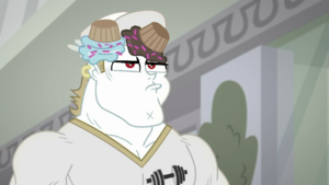 Bulk Biceps with cupcakes on his head SS16