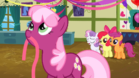 Cheerilee with ribbon in mouth S2E17