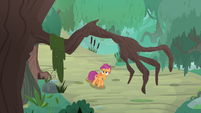 Claw-shaped tree branch over Scootaloo S9E22