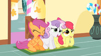 Cutie Mark Crusaders watching Main 6 hug S01E23