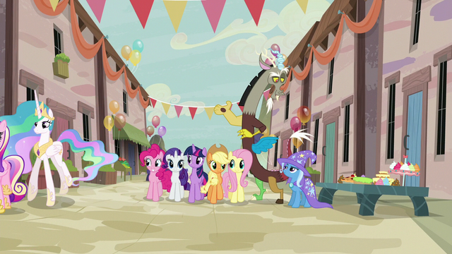 File:Discord talks with Trixie as Mane Six join the party S6E26.png