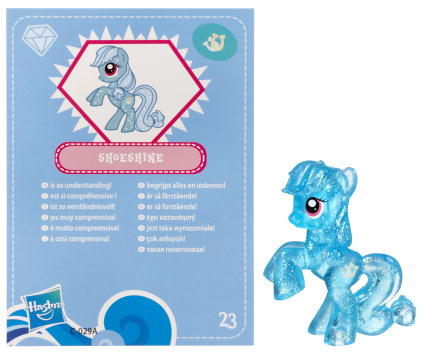 A Glitter Mini Figure Toy With Shoeshines Likeness Was Released In May 2012 As Part Of The Fourth Wave Mystery Packs Uses Applejack Mold