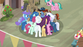 Our Town villagers crowded around Starlight Glimmer S6E25.png