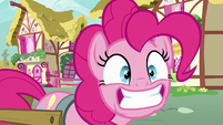 Pinkie Pie grinning widely at Rainbow Dash S7E23