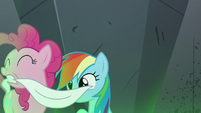 Pinkie Pie removing Rainbow Dash's blindfold S7E18