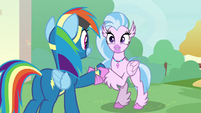 Silverstream shaking Rainbow's hoof S9E3
