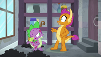 Smolder repulsed by Spike's smell S8E11