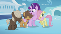 Starlight hugging Fluttershy and Hoops S5E25.png
