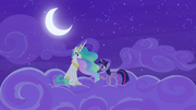 Twilight and Celestia talk on the clouds S8E7