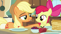 AJ puts supporting hoof on Apple Bloom S5E4