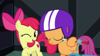 Apple Bloom winking; Scootaloo nodding S8E12