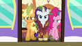 Applejack, Rarity, and Pinkie in the train car door S6E22.png