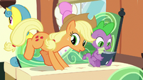 Applejack and Spike sitting down S9E26