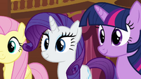 Fluttershy Rarity and Twilight smiling at Pinkie S3E3
