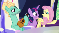 Fluttershy asking where Spike is S6E11