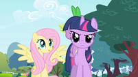 Fluttershy interested and Twilight annoyed S1E1