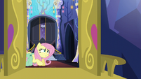 Fluttershy struggling under her bags S5E23