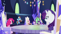 Main ponies look at embarrassed Rainbow S7E14