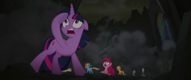 Mane Six and Spike in crumbling throne room MLPTM