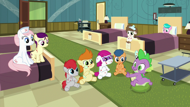 File:Nurse Redheart and foals listening to Spike S7E3.png