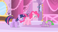 Pinkie Pie and Twilight look at Spike cushion S1E20